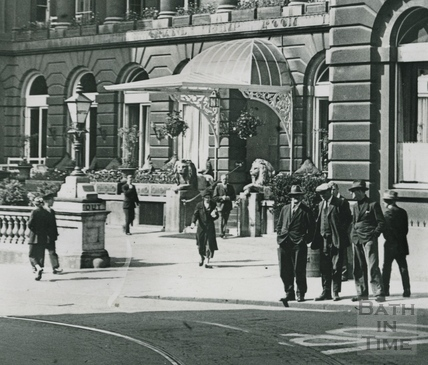 Grand Pump Room Hotel, view from Cheap Street c.1930 - detail