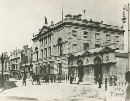 High Street, showing the old markets, Guildhall and in the distance, the White Lion Hotel, Bath c.1890