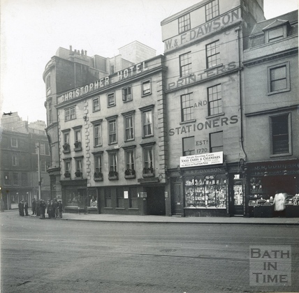 High Street, west side, showing the Christopher Hotel, W&F Dawson, printers and stationers c.1930