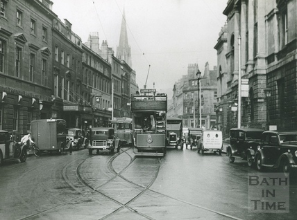High Street, looking north showing a tram and the Guildhall c.1930s