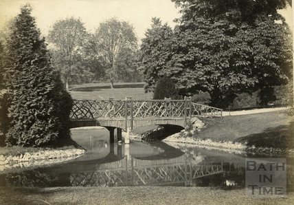 The rustic bridge over the pond in Royal Victoria Park c.1890
