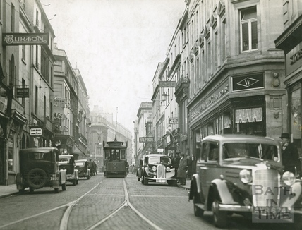 Stall Street looking north showing trams and lots of traffic c.1930s