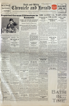 The front cover of the Chronicle & Herald, Saturday 23 March 1940