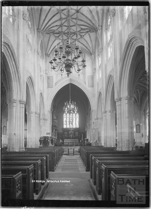 Inside St Marys church, Steeple Ashton c.April 1936