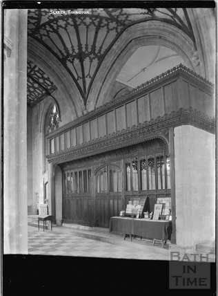 Screen inside Edington church, Wilts c.1920s