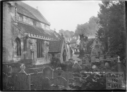 Castle Combe No.30, view of the church from the graveyard, c.November 1933