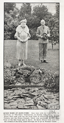 Queen Mary and Mr H.M. MacVicar at Alice Park, June 10 1944