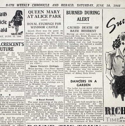 Report of visit of Queen Mary to Alice Park, June 10 1944