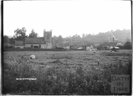 The church and village at Slaughterford, Wiltshire c.1937