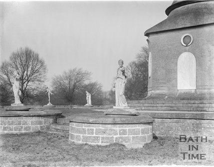 Statues at the base of the column, Ammerdown Park, Kilmersdon, Somerset c.1938