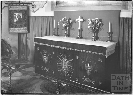 The alter inside the church, Kilmersdon, Somerset c.1938
