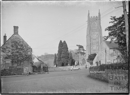 Kilmersdon Church with the photographer's car in the background, Somerset c.1938