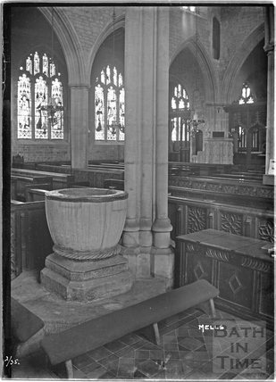 Font inside the church, Mells, Somerset, Feb 1925