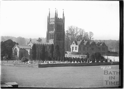 Church and Manor House at Mells, Somerset c.1938