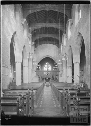 Inside Mells Church, Somerset 1 April 1929