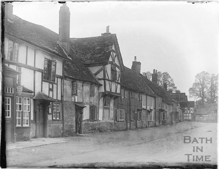 A row of timber framed houses in Lacock, 1926