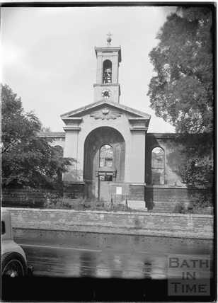 Holy Trinity Church, Hotwells, the south front, central feature, Bristol c.1950