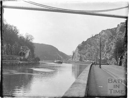 View under Clifton Suspension Bridge, looking north up the Portway, Bristol c.1950