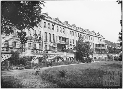 Cornwallis Crescent. The concave front, facing the garden, Bristol c.1950