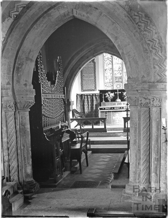 Inside the church at Lullington 1926
