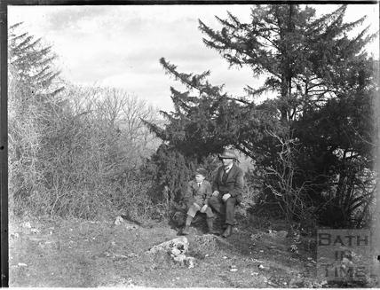 The photographer and his son at Bathampton Rocks, c.1920s