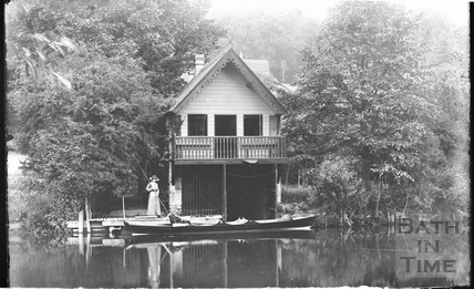 Lady beside a boathouse at Batheaston c.1900
