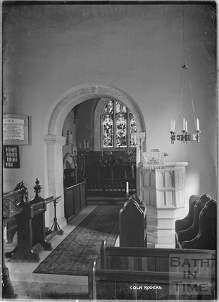 Inside St ANdrews Church, Coln Rogers, Gloucestershire c.1935