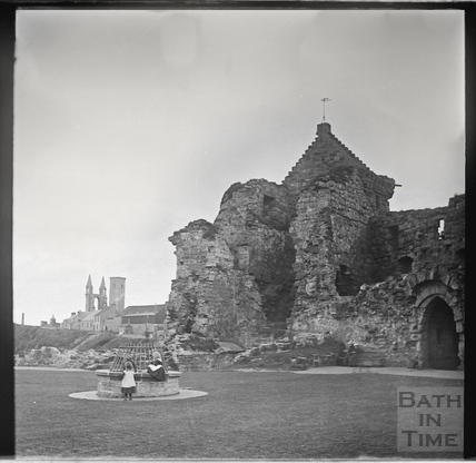 St Andrews Castle, with the ruins of the Cathedral and St Rule's Tower in the background c.1900