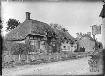 Timber-framed, thatched cottage, Keevil, Wiltshire c.1930