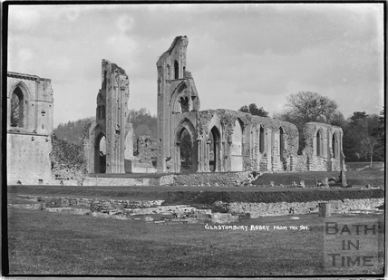 Glastonbury Abbey from the south west, c.1935