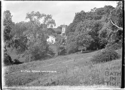 Pilton Manor and church, Somerset, c.1934