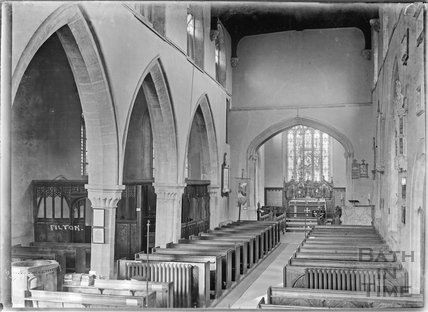 Inside Pilton Church, Somerset, c.1934