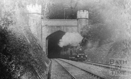 The up train emerging from Twerton Tunnel c.1903
