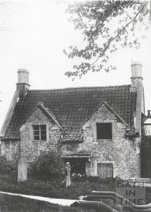 Old house opposite the churchyard in Twerton c.1903