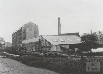 The lock on the Avon Navigation at Twerton, with the mill behind c.1903