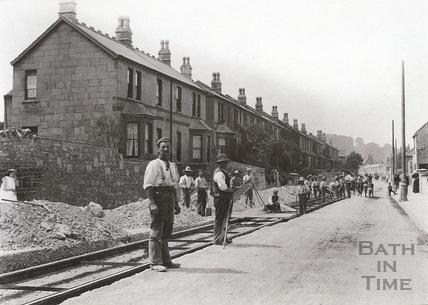 Tram track laying in Lower Bristol Road, Vernon Terrace, Twerton, summer 1903