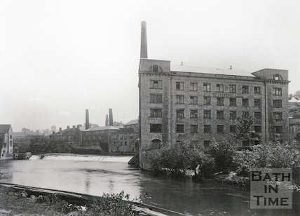 W & R Cook's Mill, on the River Avon at Twerton c.1903