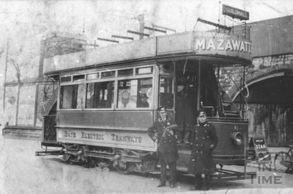 Motorman Vaughan and Tram Car no.16 at Twerton Terminus c.1938