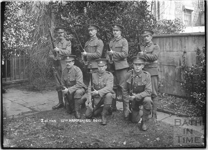 7 of the Boys, 12th Hants, Bath, c.April 1915