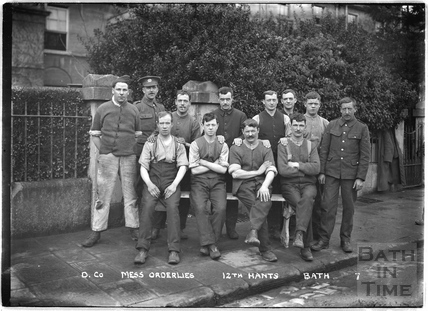 D. Co. Mess Orderlies, 12th Hants, 10 Darlington Place, Bath No.7 c.April 1915