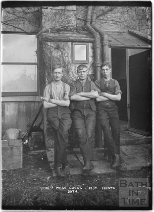 Sargeant's Mess cooks, 12th Hants, Bath, c.April 1915