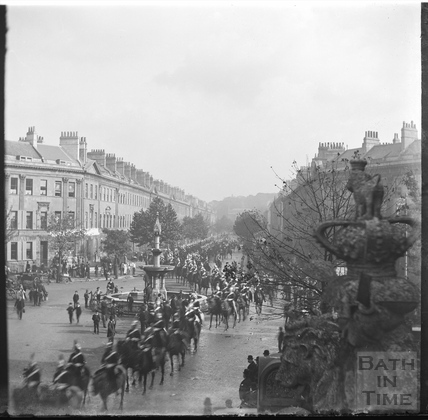 Military (or royal?) procession at Laura Place, Great Pulteney Street, c.1892