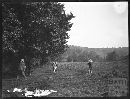 Playing stick cricket at Warleigh, c.1900