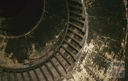 Beckfords Tower, stairwell looking up, c.1972