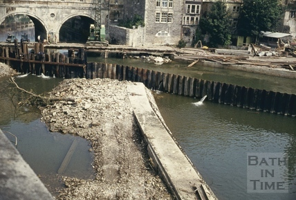 Pulteney Weir, Bath, during construction, June 1971