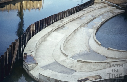 Pulteney Weir, Bath, during construction September 1971