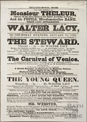 Playbill at Theatre Royal, Bath for January 31 1839