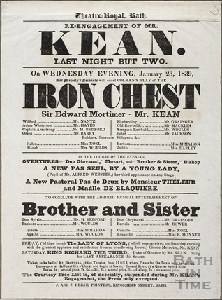 Playbill at Theatre Royal, Bath for January 23 1839