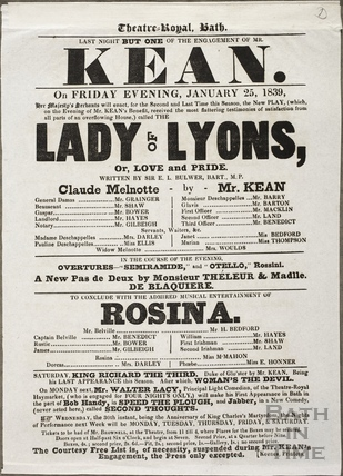 Playbill at Theatre Royal, Bath for January 25 1839