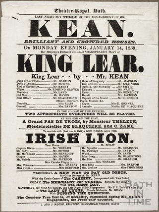 Playbill at Theatre Royal, Bath for January 14 1839